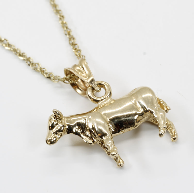 Show Heifer Necklace for her with a 14kt Solid Gold Heifer