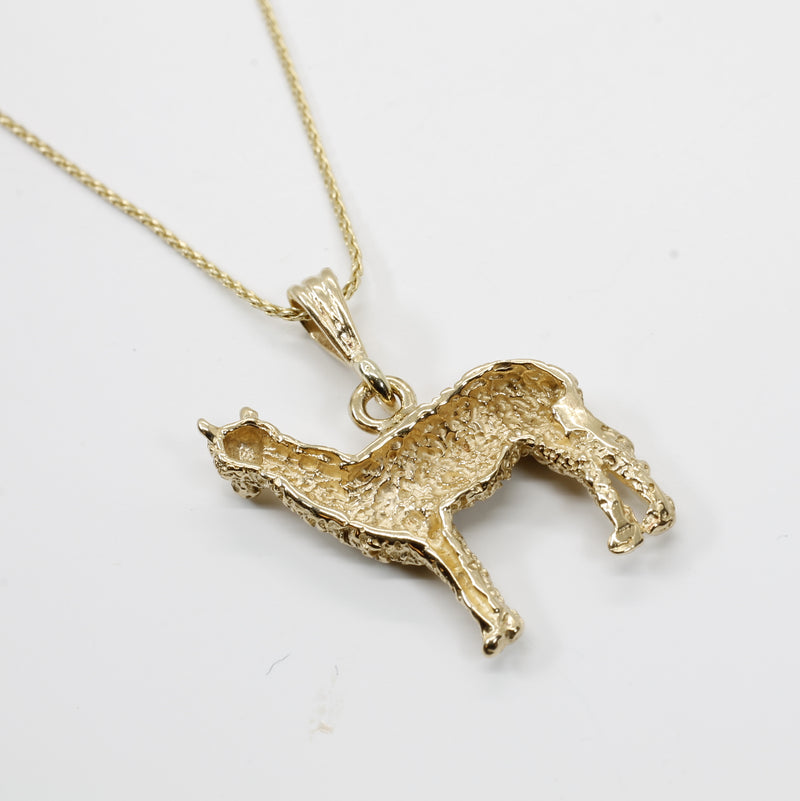 Alpaca Necklace for Her with a Solid 14kt. Gold Large Huacaya Alpaca ON SALE