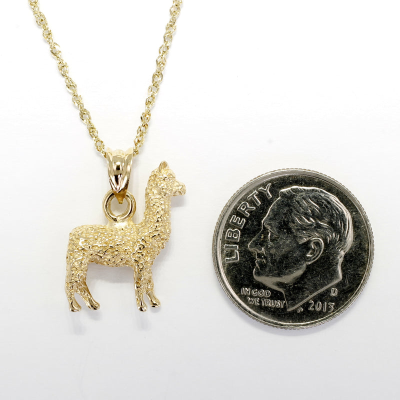 Alpaca Necklace for her with a solid 14kt. Gold Huacaya Alpaca ON SALE