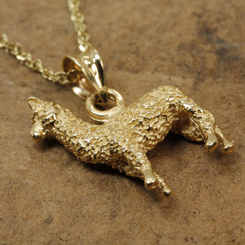 Alpaca Necklace for her with a solid 14kt. Gold Huacaya Alpaca