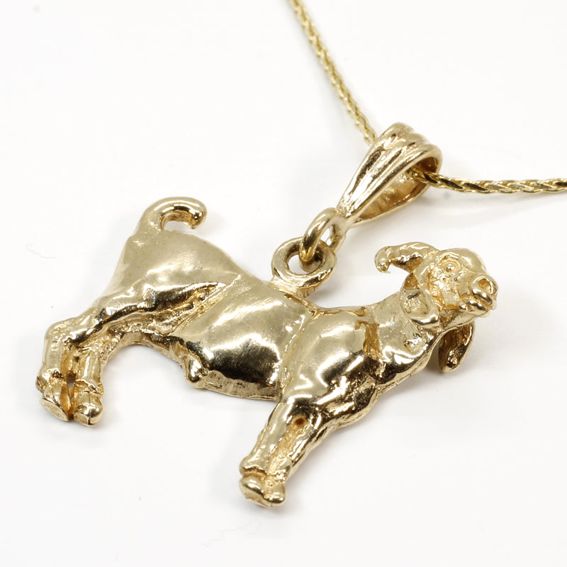 "Gold Goat Necklace with a 14kt Solid Gold Champion Boer Goat on 18"" Chain"