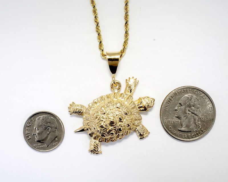 "Gold Turtle necklace with Giant Size Solid 14kt Gold Land Turtle on 18"" chain"