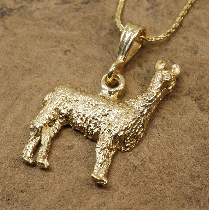 14kt. Gold Suri Alpaca Necklace for Peru Animal Lover