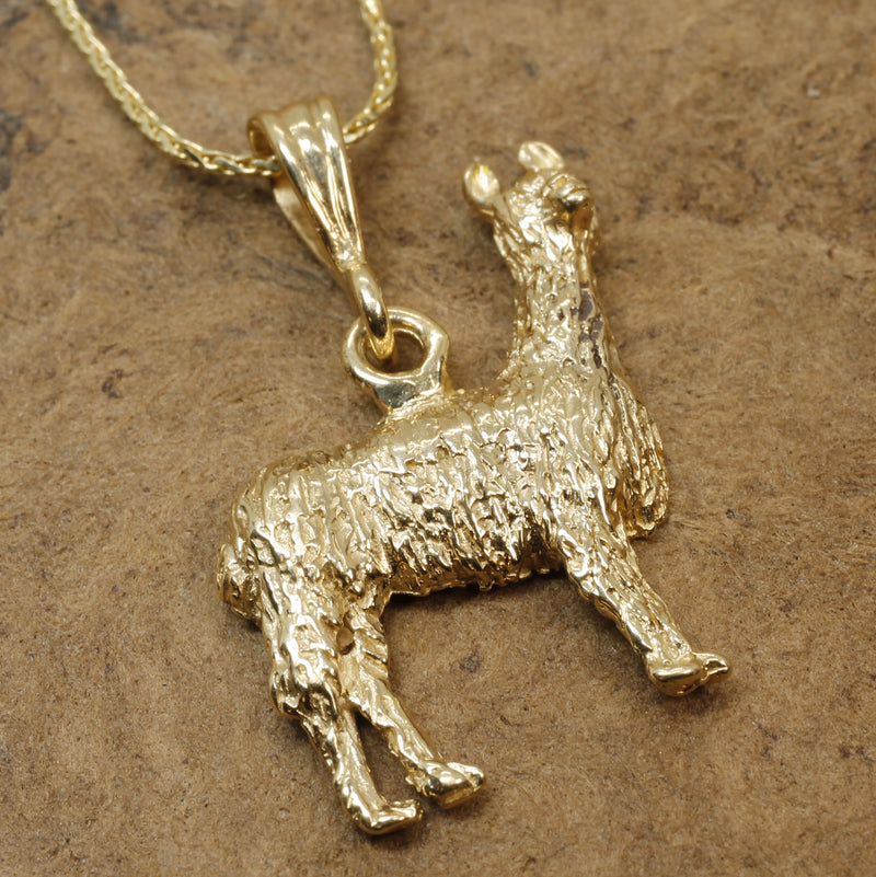 Gold Llama Necklace in 14kt solid yellow gold for Llama Lover
