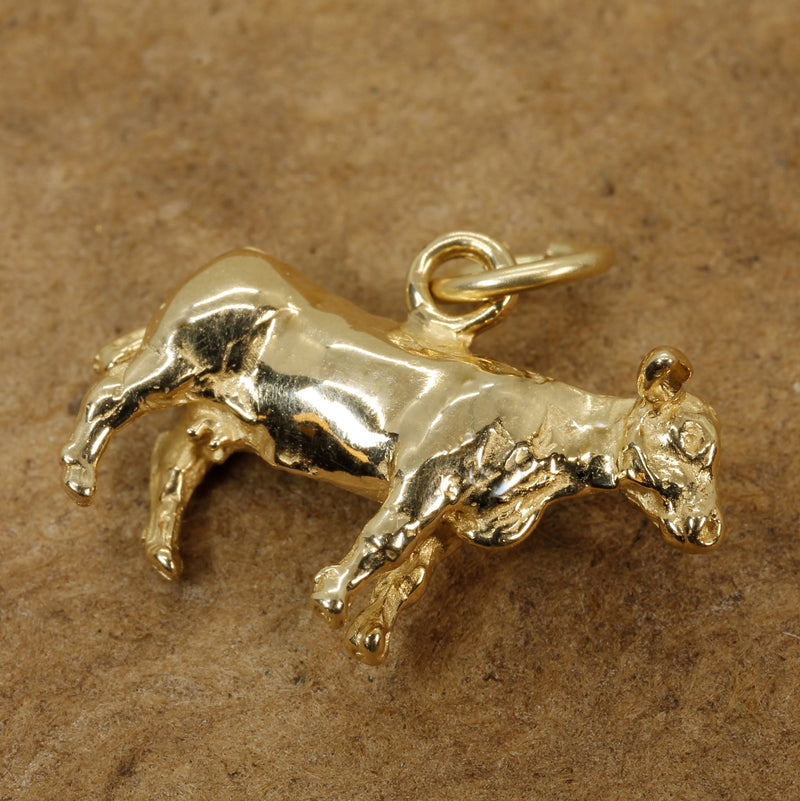 Cow Charm with a 14kt Solid Gold 3-D  Dairy Milk Cow