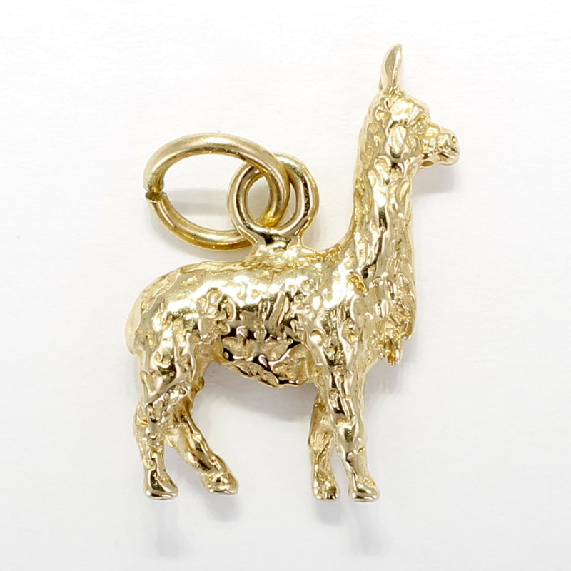 Llama Charm for her with a solid 14kt yellow gold 3-D Llama