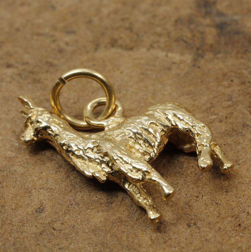 Suri Alpaca Charm made in solid 14kt yellow gold for alpaca lover