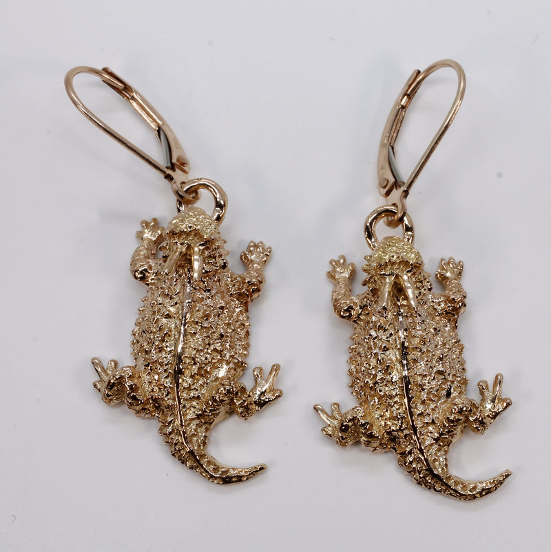 Rose Gold Horned Frog Toad Dangle Earrings in 14kt Solid Rose Gold