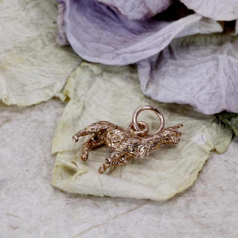 Rose Gold Llama Charm for her with a solid 14kt rose gold 3-D Llama