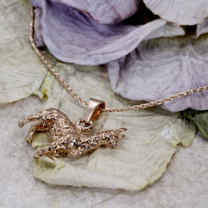 "14kt. Rose Gold Alpaca Necklace with Cute 3-D Alpaca on 18"" chain"