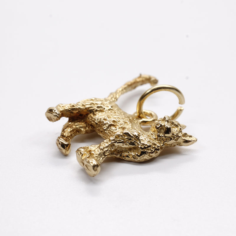 Gold Cat Charm with solid 14kt gold 3D House Cat