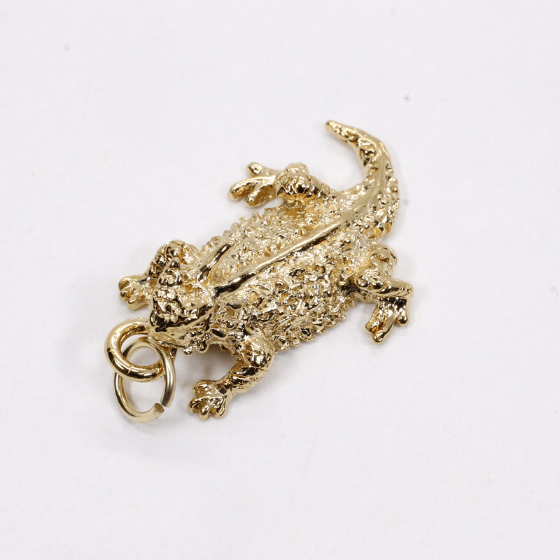 Gold Horned Toad Frog Charm made in solid 14kt Gold