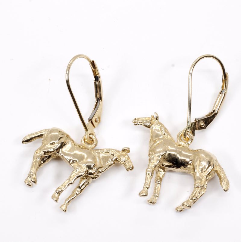 Horse Dangle Earrings with 14kt solid gold 3-D Quarter Horses