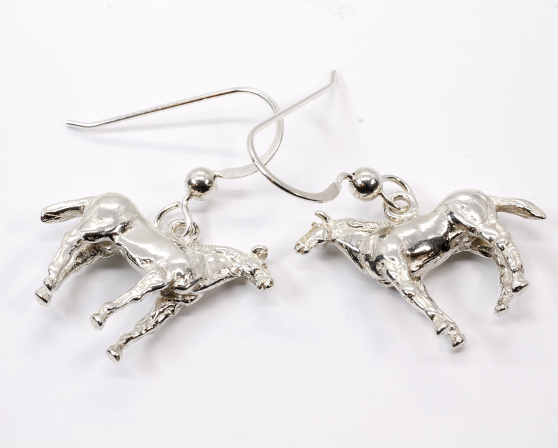 Horse Dangle Earrings with 925 Sterling Silver 3-D Quarter Horses