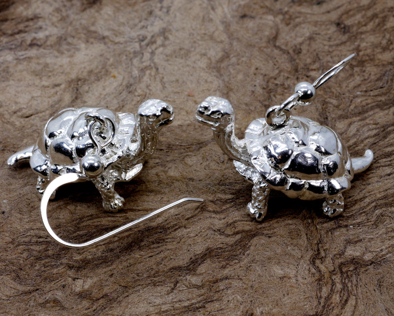 Galapagos Tortoise Dangle Earrings with 3-D 925 Sterling Silver Turtles