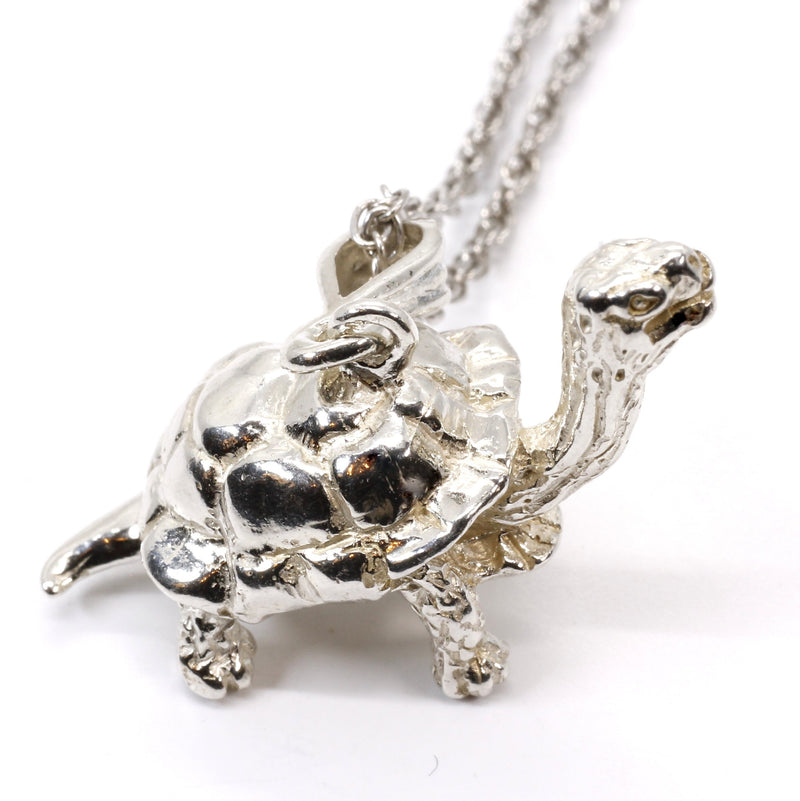 Galapagos Tortoise Necklace with 3-D 925 Sterling Silver Turtle