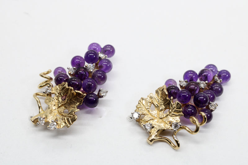 Amethyst and Diamonds Grape Cluster Earrings made in 14kt Gold