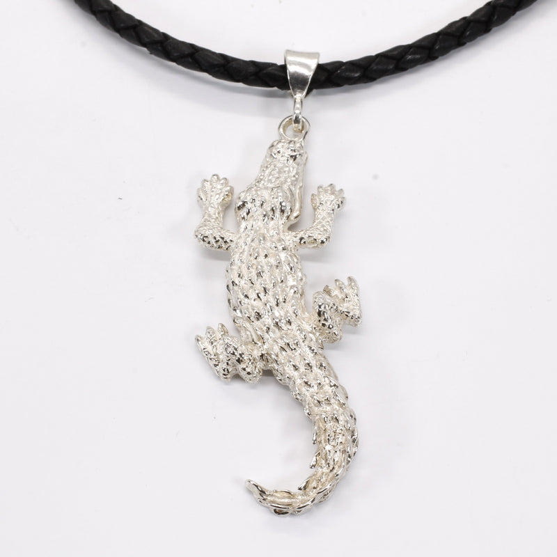 Giant Size Alligator Necklace on leather cord in 925 Sterling Silver for man or woman