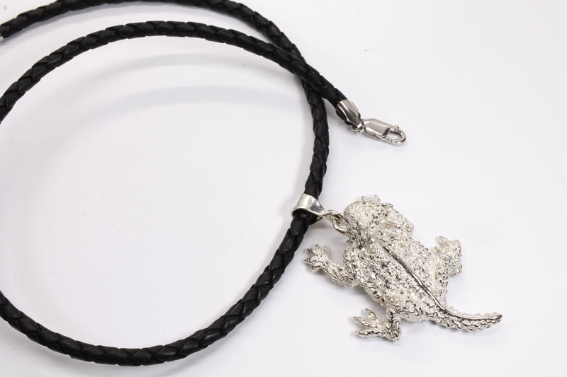 Large Silver Horned Toad Frog Necklace made in 925 Sterling Silver on leather Cord