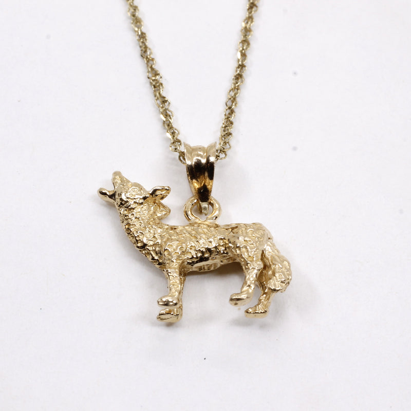 Gold Coyote Necklace with solid 14kt gold 3D Howling Coyote