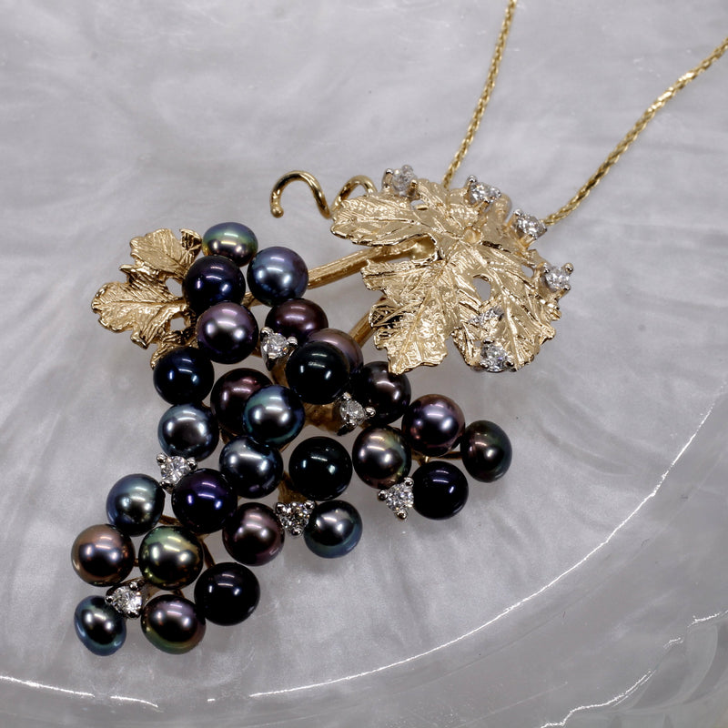 14kt Gold Grape Cluster Necklace with Black Peacock Pearls and Diamonds