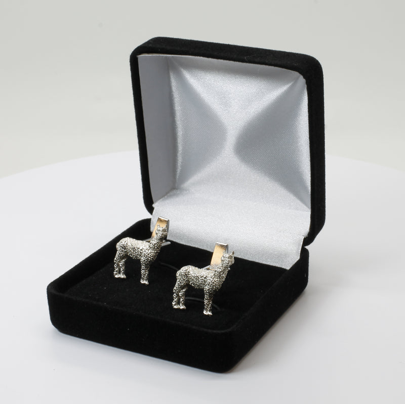 Huacaya Alpaca Cuff Links for him with Medium Size 925 Sterling Silver Huacaya Alpacas