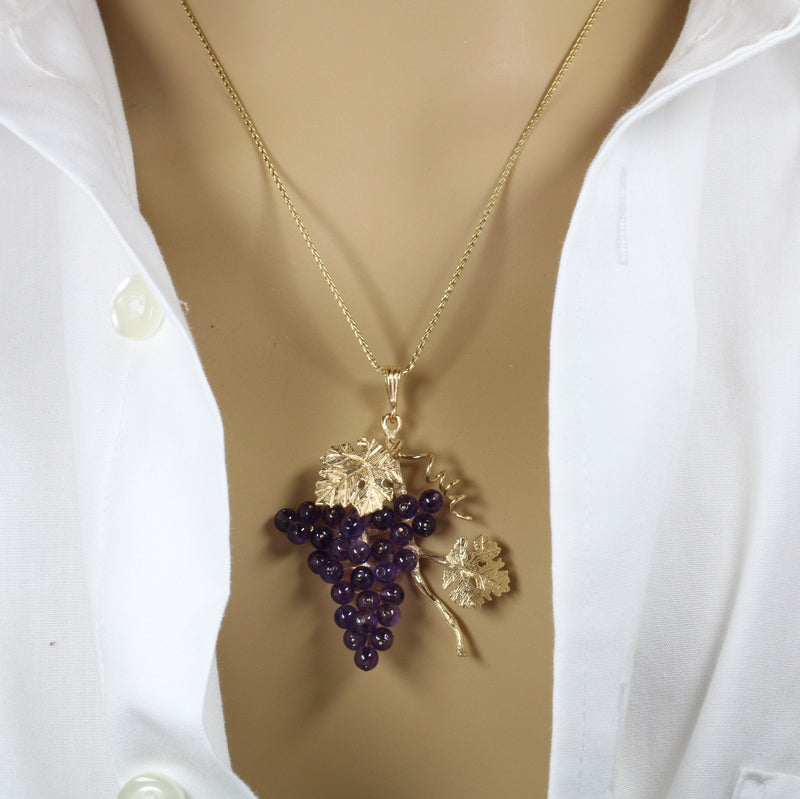 Large Amethyst Grape Cluster Necklace with two leaves made in 14kt Gold