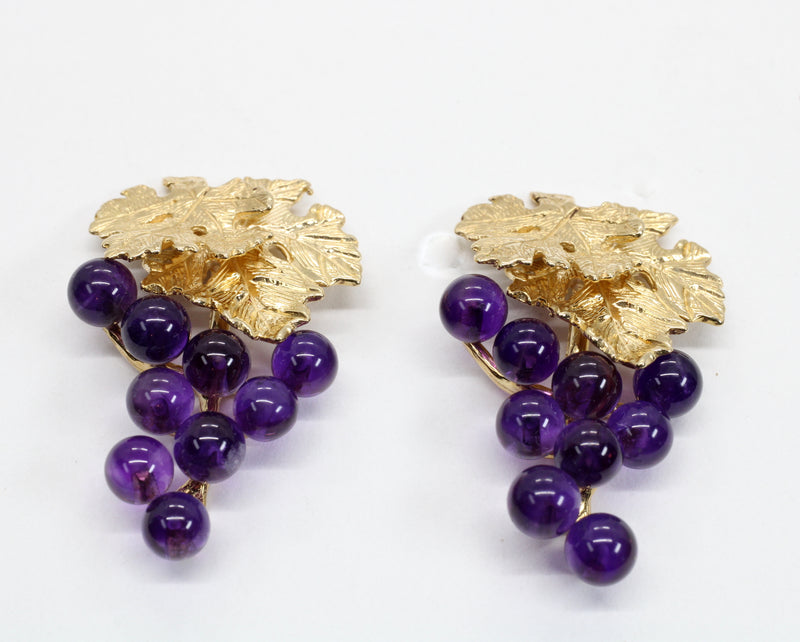 Large Amethyst Grape Cluster Earrings made in 14kt Gold