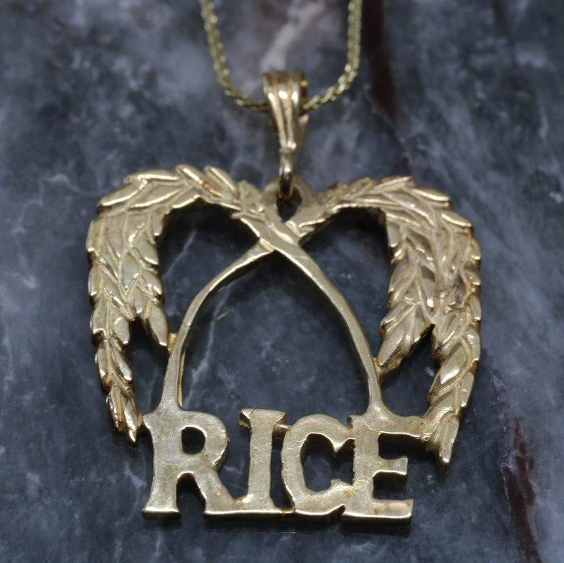 Large Gold Rice Logo Necklace made in Solid 14kt. Gold