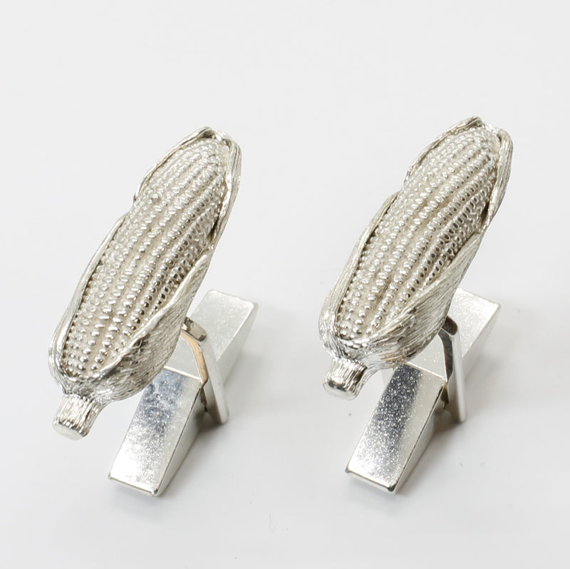 Corn Cob Cuff Links with Large 925 Sterling Silver Ear of Corn Cuffs
