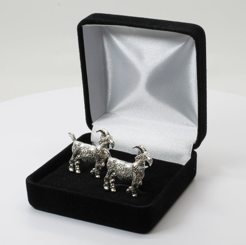 Large Goat Cuff Links With Big Horns in 925 Sterling SIlver