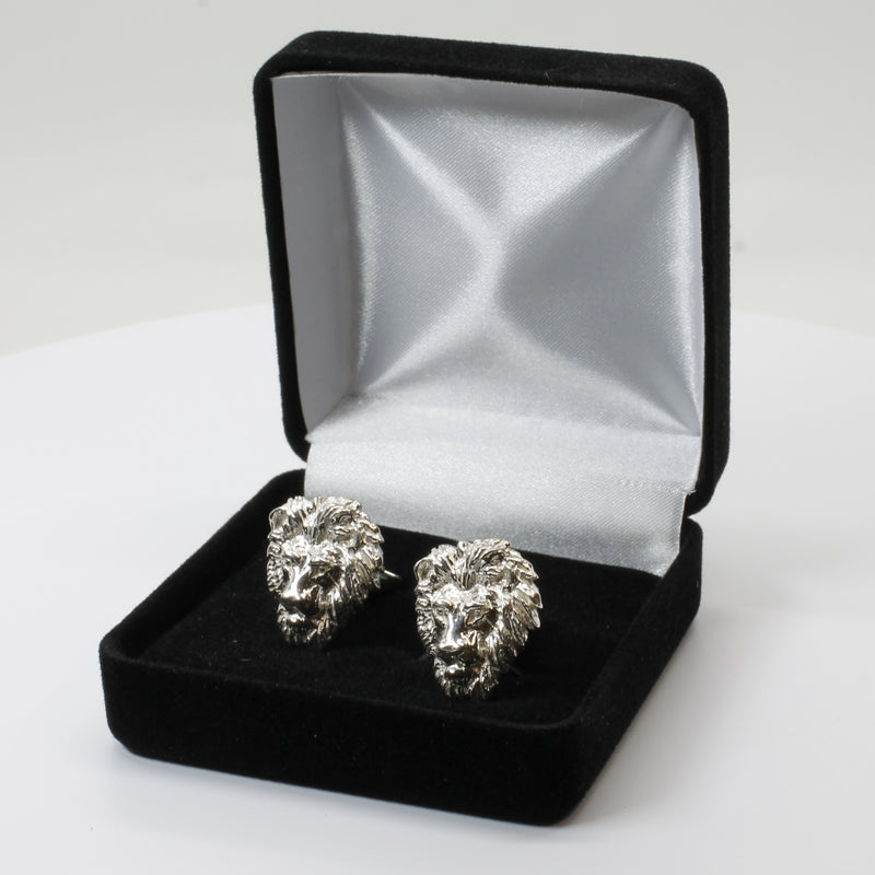 Large Lion Cuff Links in 925 Sterling Silver for mens suit