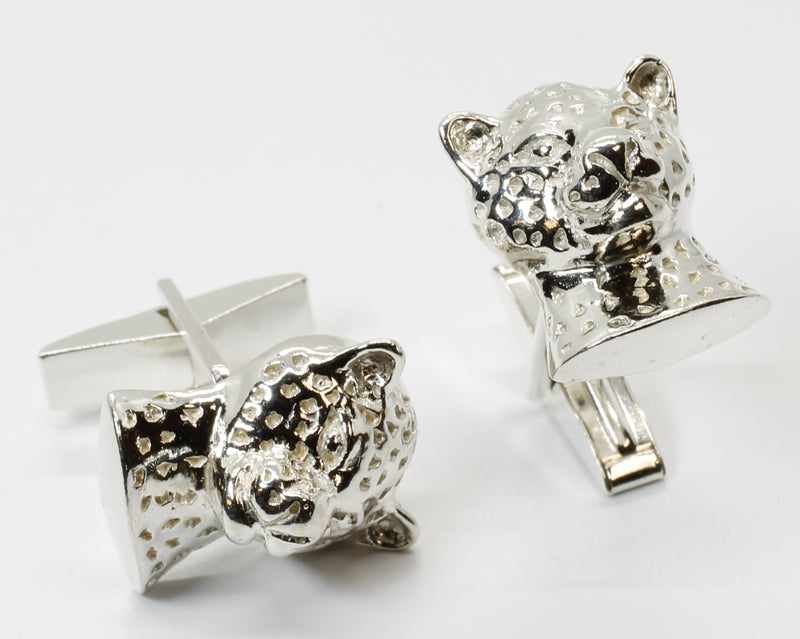 Large Leopard Head Cuff Links in 925 Sterling Silver Gift For Men