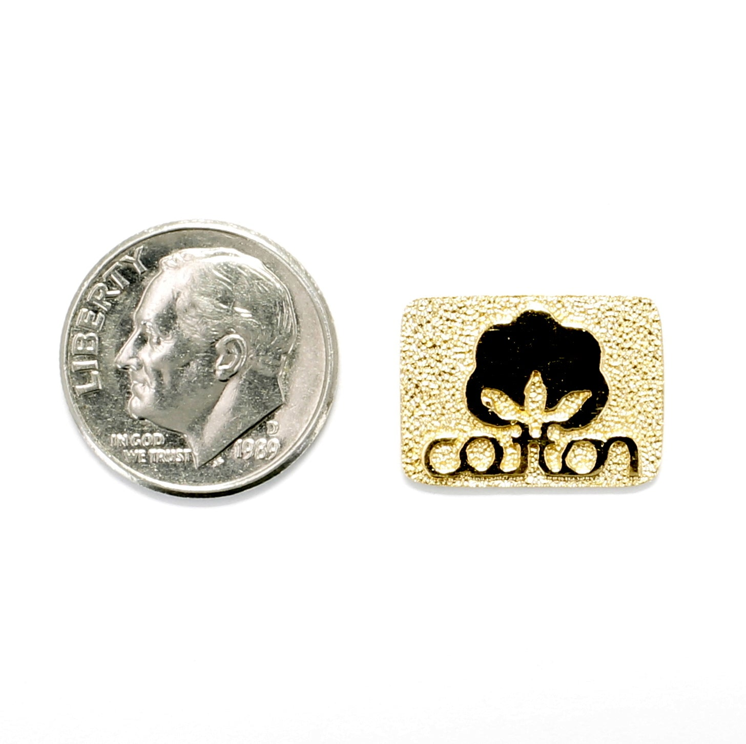 Cotton Inc 14kt Gold Vermeil Tie Tack or Pin with Seal of Cotton Logo