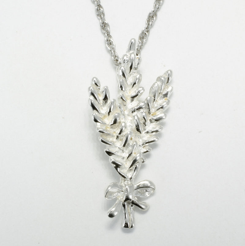 925 Sterling Silver Wheat Head Necklace