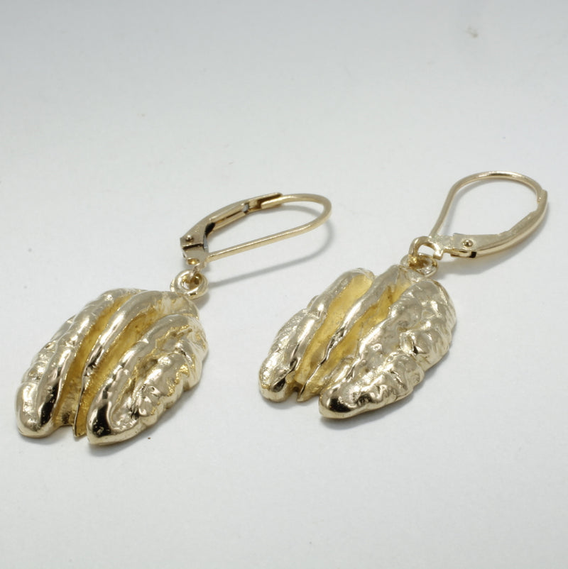 14kt solid yellow gold pecan dangle earrings