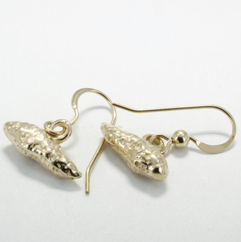 Solid 14kt gold sweet potato dangle earrings