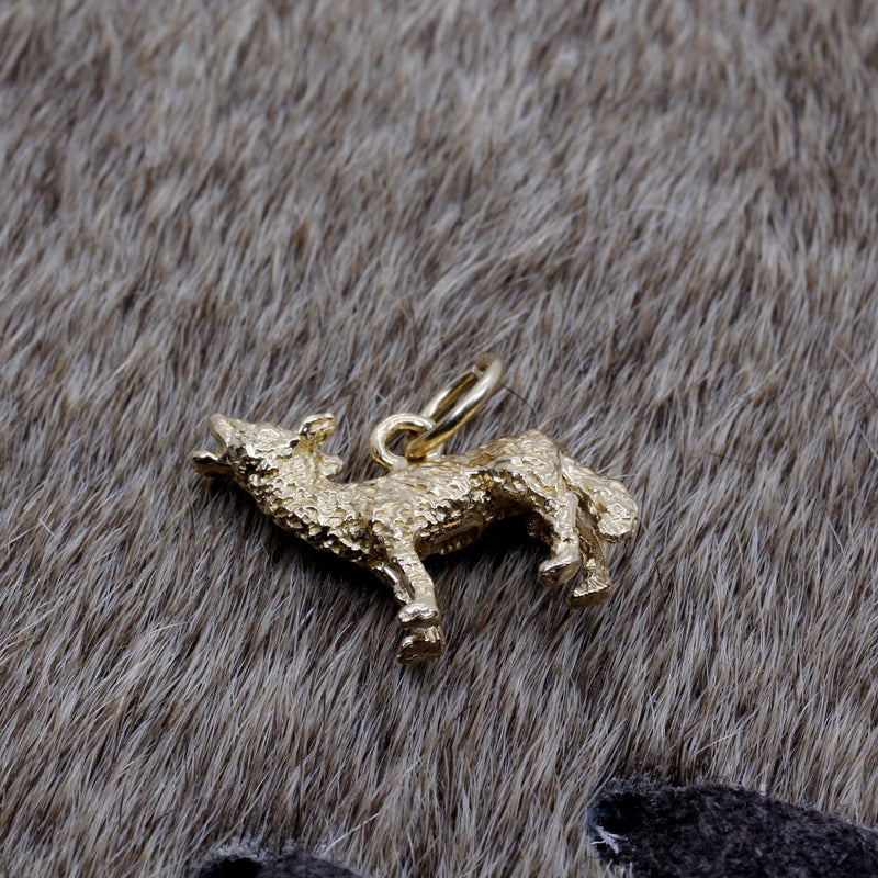 Gold Coyote Charm with solid 14kt gold 3D Howling Coyote