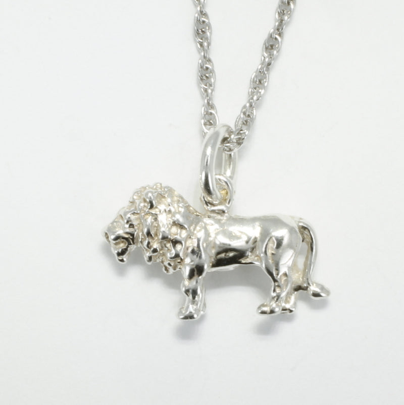 925 sterling silver full body lion necklace