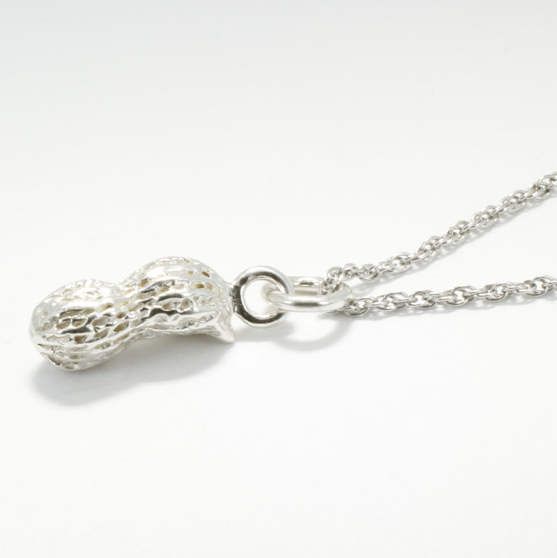 925 sterling silver whole shell peanut charm necklace