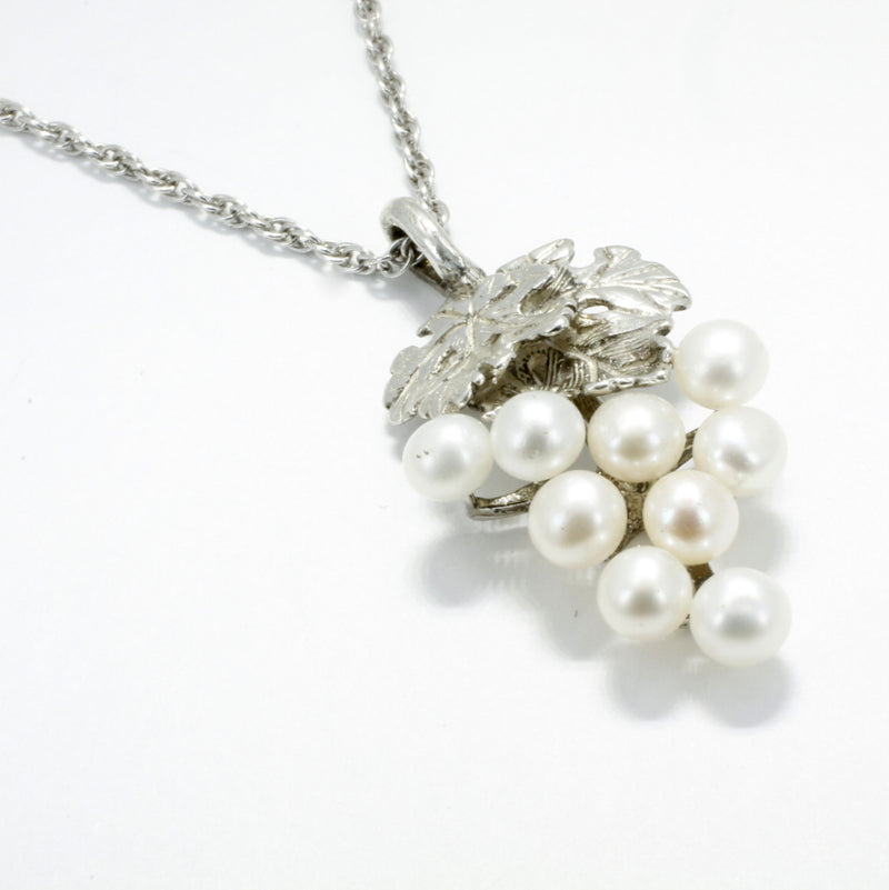 white pearl grape cluster necklace in sterling silver