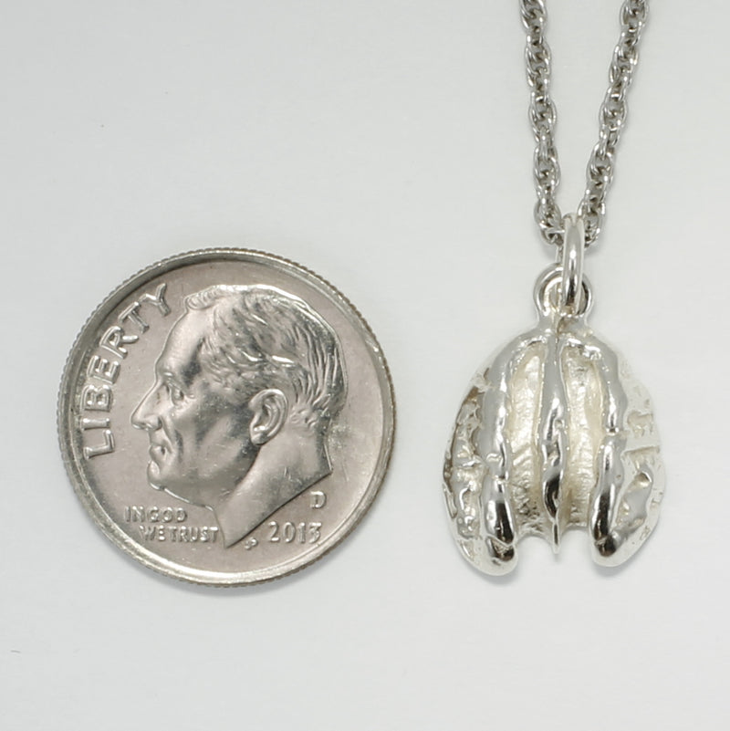 "Tiny 925 Sterling Silver Pecan Necklace with 18"" Silver Chain"