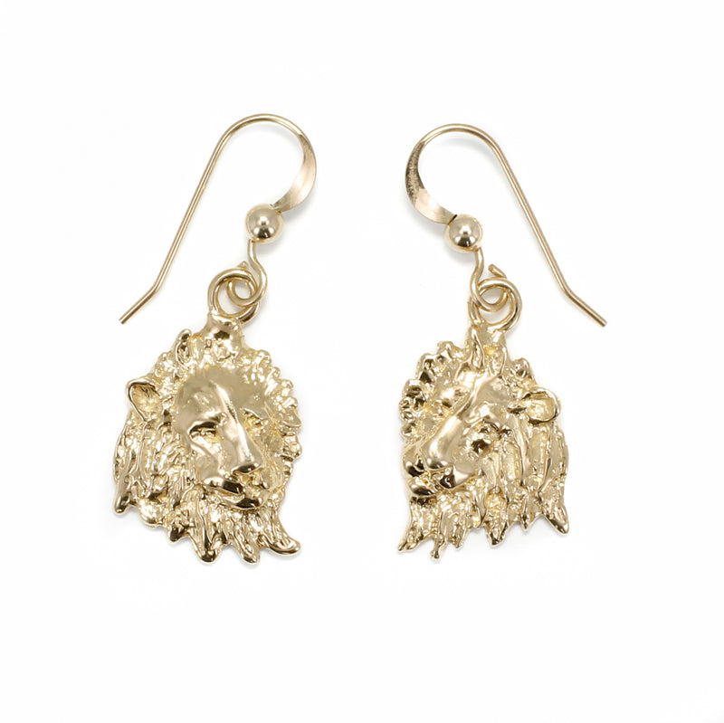 Lion Jewelry, Lion Earrings, 14kt Gold Lion Heads Dangle Earrings, Facing Sideways, lion head earrings gift for her