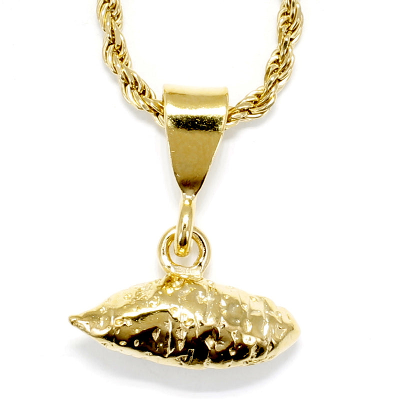 Mans Large Gold Sweet Potato Necklace for men or women