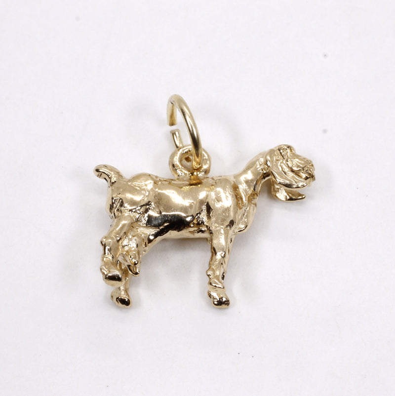 Gold Nubian Dairy Goat Charm with solid 14kt Gold 3D Goat