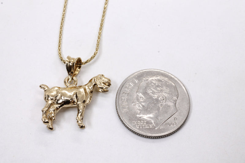 Gold Nubian Dairy Goat Necklace with solid 14kt gold 3D Goat