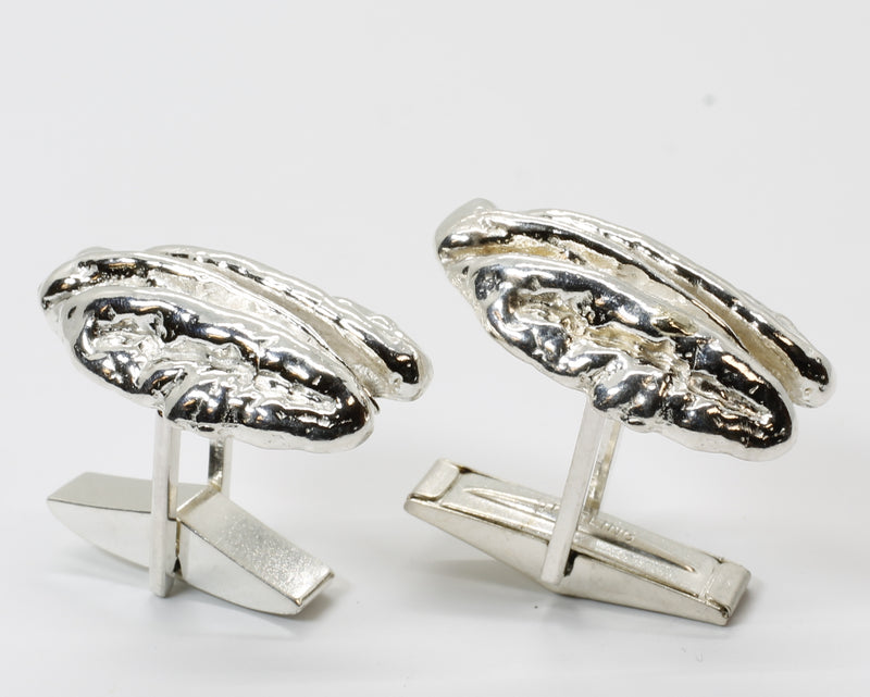 Pecan Cuff Links in 925 Sterling Silver with Large Realistic Pecans