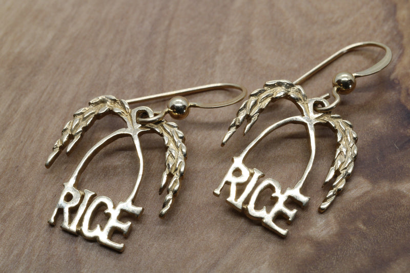 Gold Rice Logo Dangle Earrings made in Solid 14kt Gold for Her