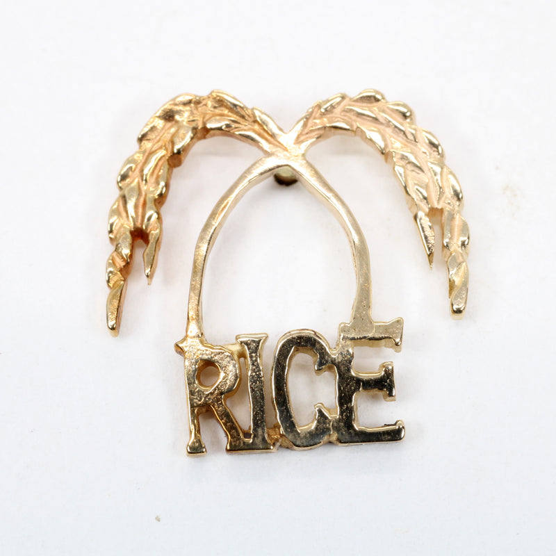 Gold Rice Logo Tie Tack for Him made in solid 14kt Gold