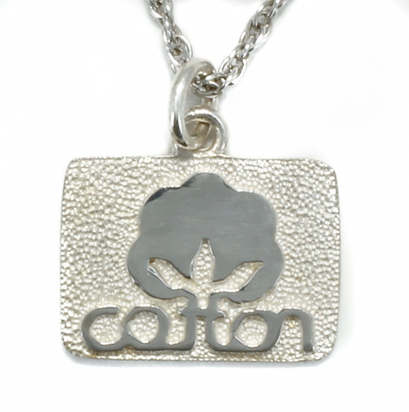 Small Cotton Inc 925 Sterling Silver Cotton Seal Logo Necklace